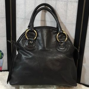 Bulga vintage large black leather satchel